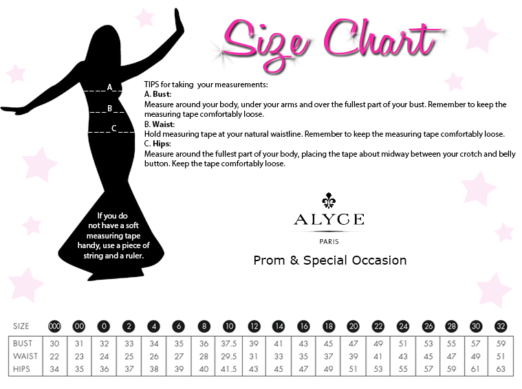 Alyce Designs Prom and Special Occasion Size Chart