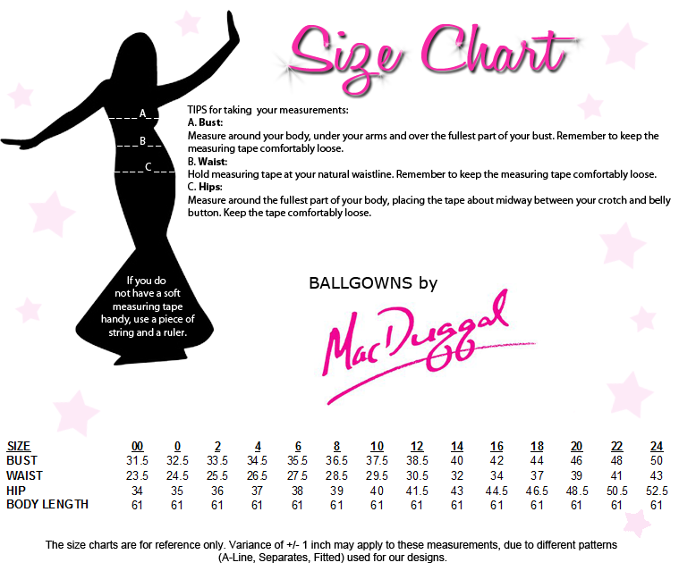 Ballgowns by Mac Duggal Size Chart