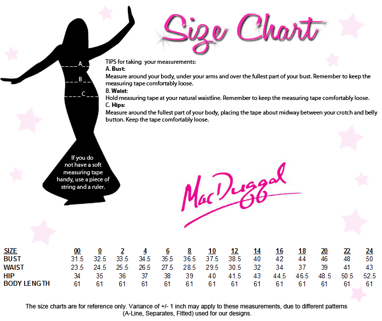 Mac Duggal Couture Size Chart