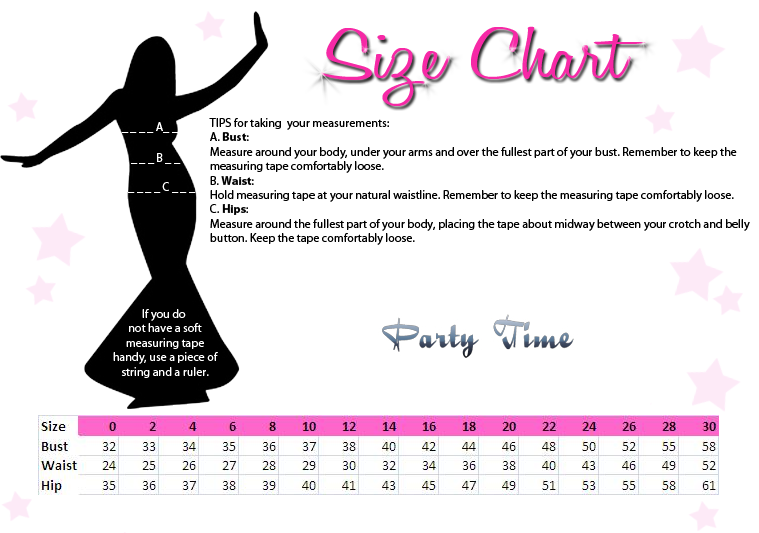 Party Time Formals Size Chart