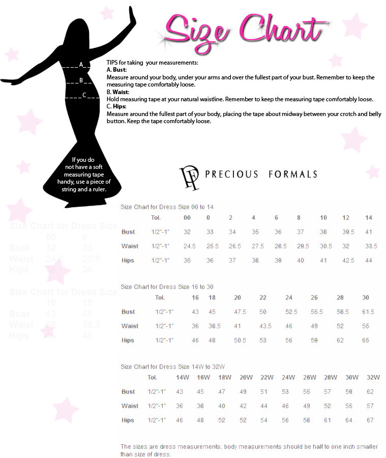 Precious Formals Size Chart