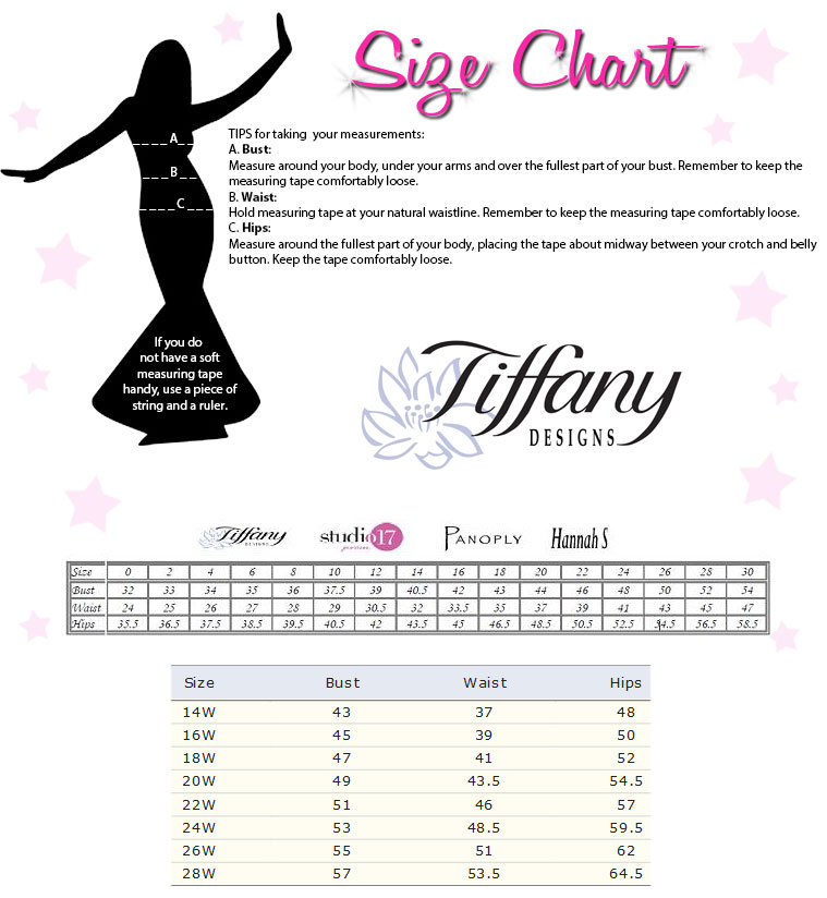 Tiffany Designs Size Chart