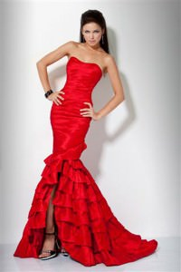 Jovani Ruffled Dresses Red