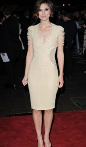 "Keira Knightley in Chanel dress with pearl beaded detail at the London Premiere of ""Never Let Me Go"""
