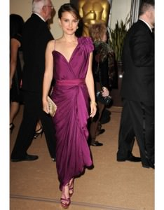 Natalie Portman in a draped Lanvin Cocktail Dress at the Governor's Ball in LA