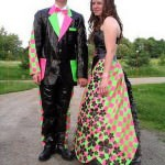 Checkerboard prom dress with Alice In Wonderland theme