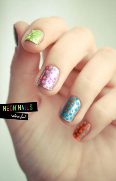 neon polka dots