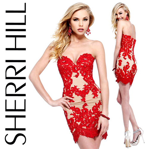 Sherri Hill 21187 red lace dress