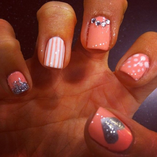 Coral pink mix n' match nails