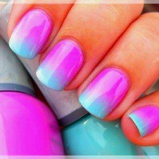 pink and teal ombre nails