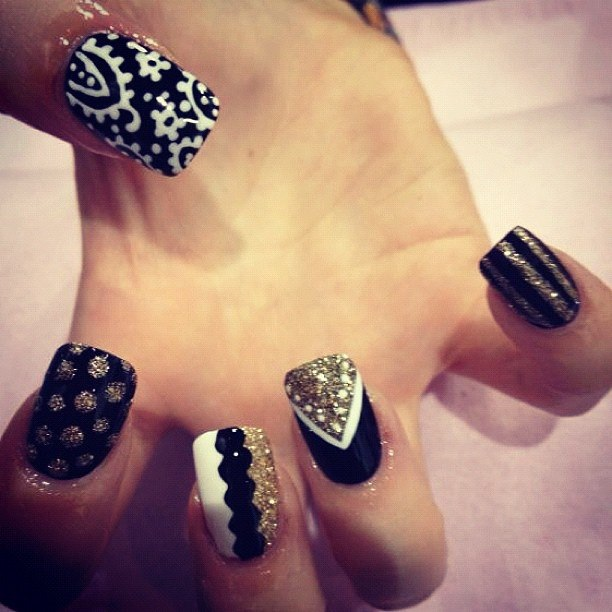 Black, white, and gold mix n' match nails