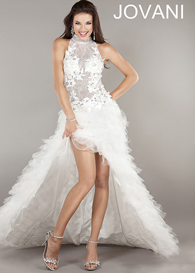Jovani 4863 white lace dress