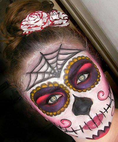 dia de los muertos skull makeup for halloween
