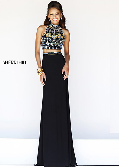 sherri hill 11068 black multi prom dress