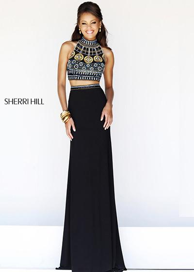 sherri hill 11068 black multi prom dress