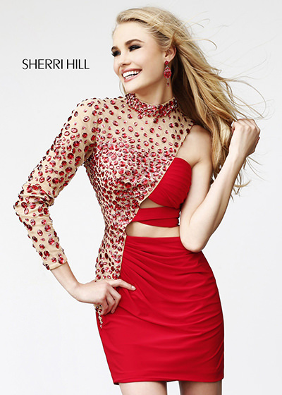 sherri hill 21185 red nude dress