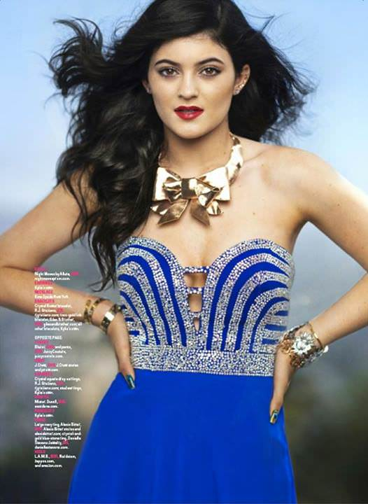 Kylie Jenner in Seventeen Mag wearing Night Moves Prom Dress ...
