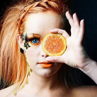 Orange Makeup Runway Model