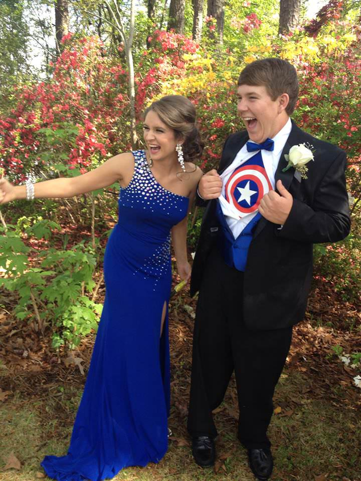 Katlyn and John in their superhero style prom outfits!