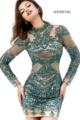 Sherri Hill Fall 2014 Style 1932 Emerald Beaded Cocktail Dress