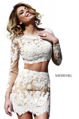 Sherri Hill Fall 2014 21371 Lace Two Piece Dress
