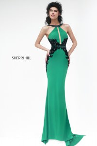 Sherri Hill Fall 2014 Style 32013 Emerald Halter Gown