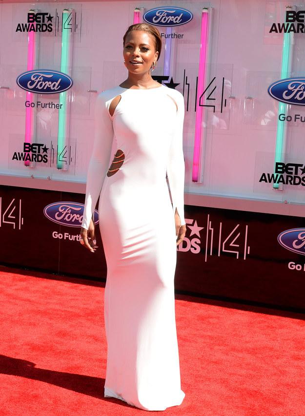 BET Awards Red Carpet Look: Long White Dresses Eva Marcille