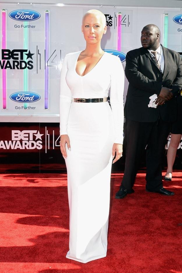 BET Awards Red Carpet Look: Long White Dresses Amber Rose