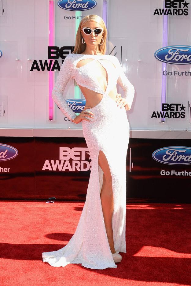 BET Awards Red Carpet Look: Long White Dress Paris Hilton