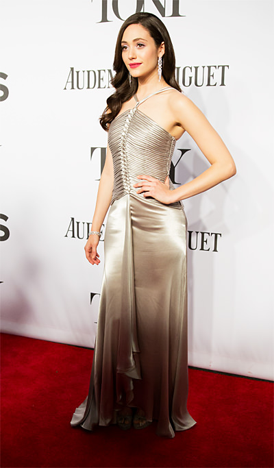 Best Dressed Tony Presenter Emmy Rossum in Ralph Lauren Collection Gown