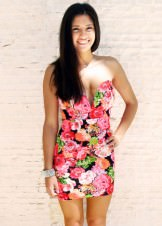 Casual Summer Dress- Neon Floral Print Bodycon Dress