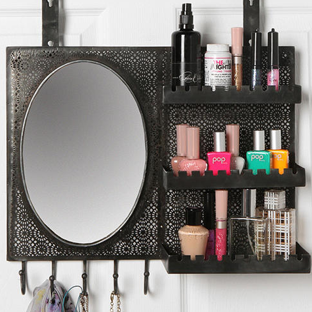 Dorm Room Must Haves-Over the Door Vanity with Mirror and Hooks
