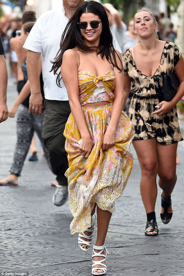 selena gomez in zimmerman mustard mini