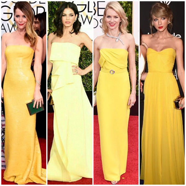Yellow dresses worn at the 2015 Golden Globes