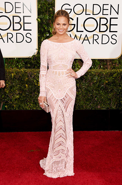 Chrissy Teigen at the 72nd Annual Golden Globes