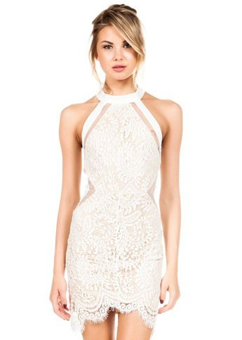 Elegant Lace Halter Cocktail Dress