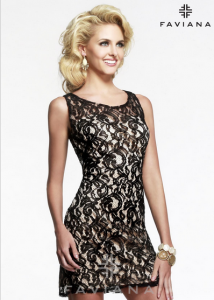 Faviana 7429 Black Sleeveless Short Lace Dress