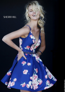 Sherri Hill 32321 Navy Floral Print Homecoming Dress