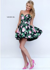 Easy Dresses - Sherri Hill 50146 Strapless Floral Black and Pink Print Cocktail Style