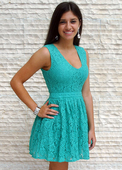 Get Lacy Floral Lace Skater Dress vm-cs2131-mint-2