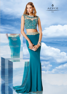 Alyce 6476 Art Deco inspired look Jeweled Teal Lace Crop Top Gown
