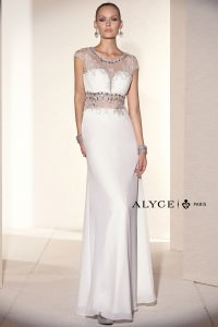 Black Label by Alyce 5680 Elegant Cap Sleeve Chiffon Gown
