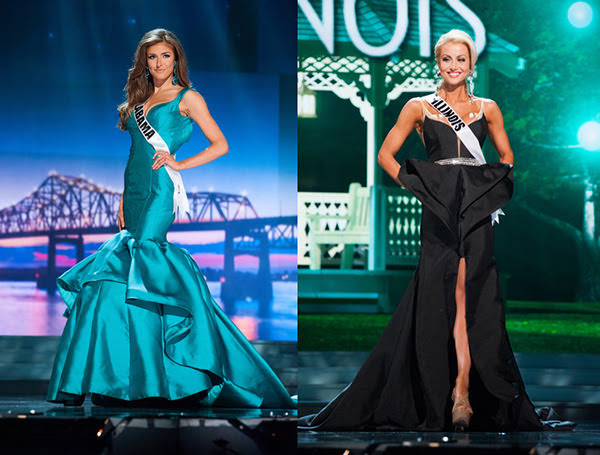 Miss Illinois and Miss Alabama on the Miss USA 2015 stage in Mac Duggal Dresses