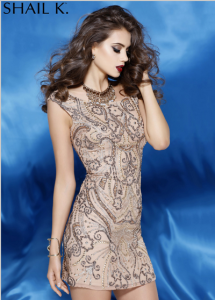 Shail K. 3234 art deco inspired look Beaded Cap Sleeve Short Dress