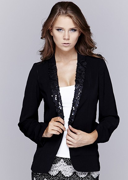 Long Sleeve Sequin Open Blazer J6337