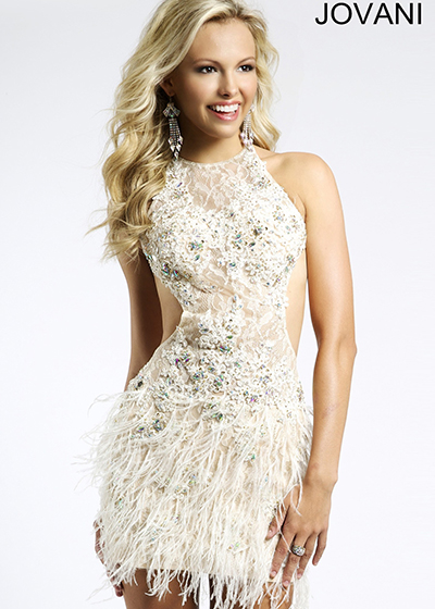 Feather Dress Jovani 93098