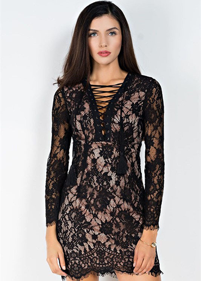 Long Sleeve Lace Short Dress