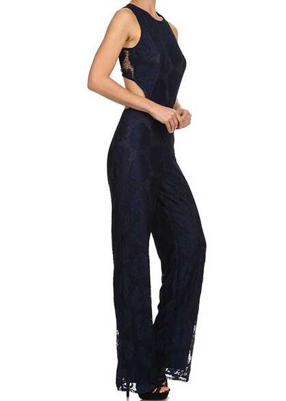 Navy Lace Jumpsuit