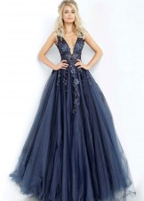 Jovani 55634 Navy and Black Ball Gown Prom Dress