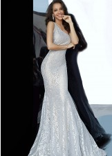 Jovani 00353 silver one-shoulder prom dress